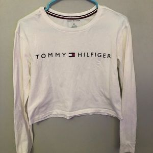 White Tommy Hilfiger long sleeve crop top